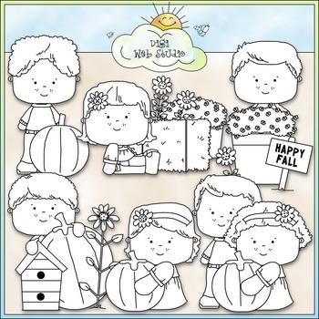 Fall Garden Kids Clip Art - Fall Clip Art - Autumn Clip Art - CU Clip Art & B&W