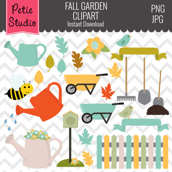 Fall Gardening Clipart // Outdoor Clipart // Fall Leaves C