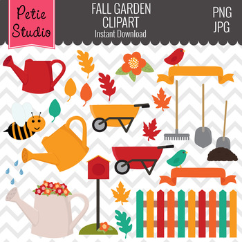 Fall Gardening Clipart // Outdoor Clipart // Fall Leaves Clipart - Fall134