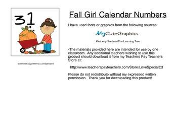 Fall Girl Calendar Numbers