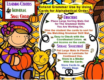 Fall Grammar Learning Centers Differentiated Activities