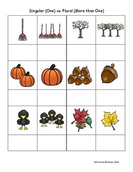 Fall Grammar Pages for Special Education and Autism