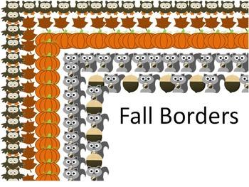 Fall Graphic Clip Art Set Owl Pumpkin Squirrel Nut Leaves plus Borders