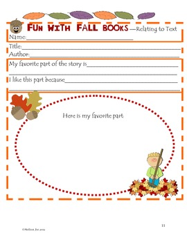 Reading Response Sheets Graphic Organizers To use with any Fall book