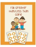 Fall Greater Than/Less Than Math Game