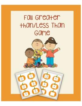 Fall Greater Than/Less Than Math Game