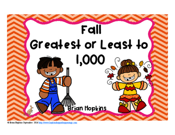 Fall Greatest and Least to 1,000 Task Cards
