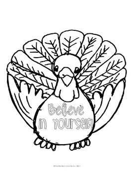 Fall Growth Mindset Coloring Pages Thanksgiving Turkey and Pumpkin