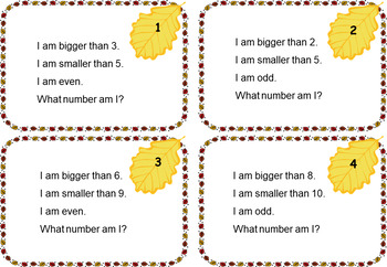Fall Guess My Number - Numbers 1-10