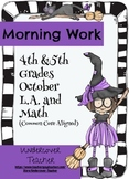 Fall Halloween 4th & 5th Gr. Morning Work - Math and Language Arts (Common Core)
