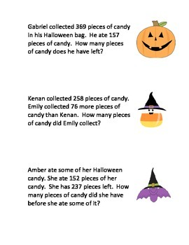 Fall Halloween Addition and  Subtraction Word Problems
