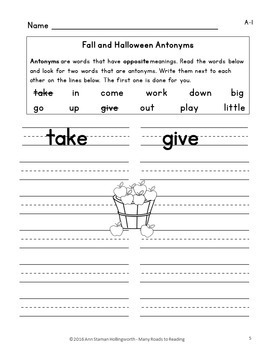Fall & Halloween Antonyms: Grades 1-2