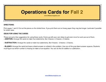 Fall Halloween Leaves operations cards prek primary math addition subtraction