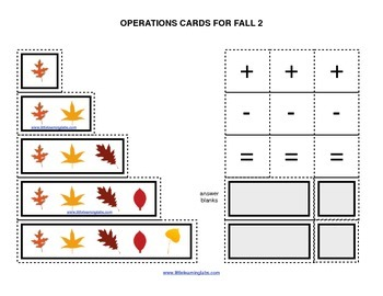 Fall Halloween Leaves operations cards prek primary math a