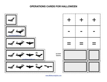 Fall Halloween Batsoperations cards prek primary math addition subtraction