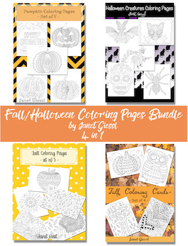 Fall/Halloween Coloring Pages Bundle - 4 in 1
