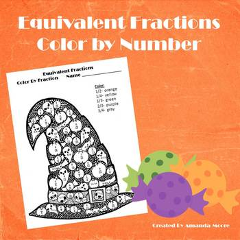Fall Halloween Equivalent Fractions Color by Number