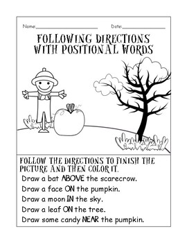 Fall/Halloween Following Directions using Prepositions