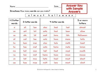 Fall and Halloween How Many Words Can You Make K-3