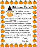 Fall/Halloween Letter to Parents *Editable*