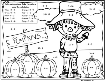 Fall / Halloween / Math / Scarecrow Addition & Subtraction ...