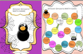 Back to School Halloween Math Mostly Ghostly + Spooky Spider's Game  GRADES 1-2