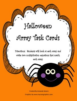 Fall Halloween Multiplication Array Task Cards