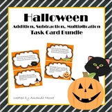 Halloween Multiplication, Addition, Subtraction Word Problem Task Cards Bundle