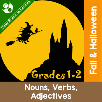 Fall & Halloween Nouns Verbs Adjectives: Grades 1-2