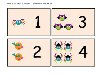 Fall Halloween Number 1-10 Flash Cards