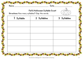 Fall and Halloween Syllable Count Grades 1-2