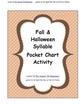 Fall Halloween Syllable Pocket Chart Activity
