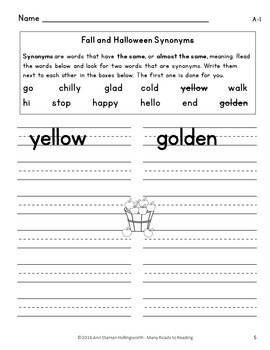 Fall & Halloween Synonyms: Grades 1-2