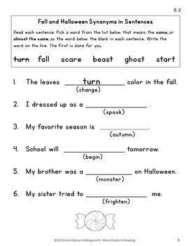 Fall and Halloween Synonyms Grades 1-2