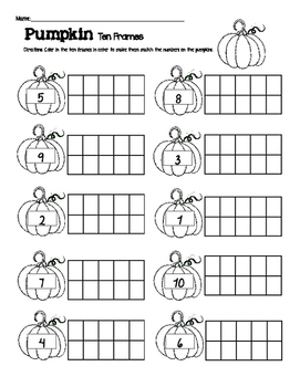 Fall/Halloween Ten Frame Activity