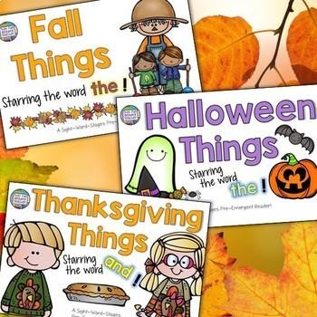 Fall activities: Autumn, Thanksgiving, Halloween sight-word readers & follow ups