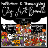 Fall, Halloween & Thanksgiving Clip Art BUNDLE: Moveable f