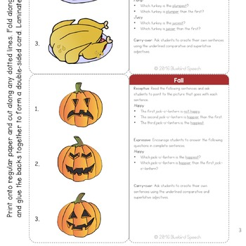 Comparative/Superlative Speech Therapy Grammar Cards: Fall and Halloween