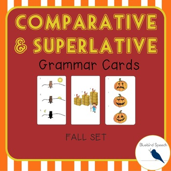 Comparative/Superlative Speech Therapy Grammar Cards: Fall