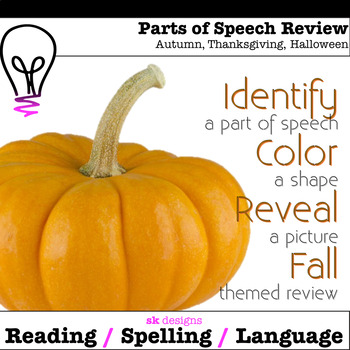 Fall, Halloween, & Thanksgiving Grammar Review Fun Printable