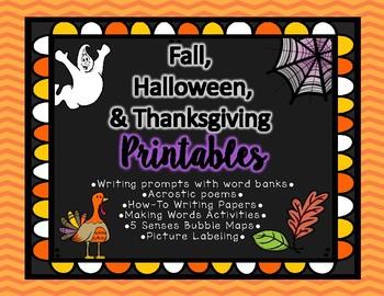 Fall, Halloween, Thanksgiving Printables