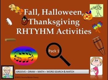 Fall, Halloween, Thanksgiving Rhythm Activity Pack 1