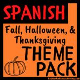 Fall, Halloween, & Thanksgiving Theme Pack: Spanish Version