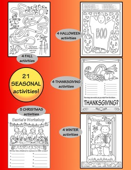 fall halloween thanksgiving winter christmas activity coloring pages bundle