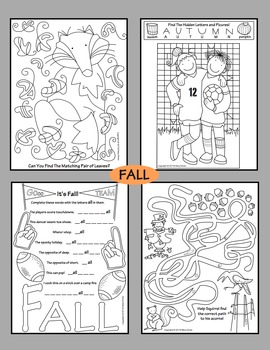 Fall, Halloween, Thanksgiving, Winter, Christmas Activity Coloring Pages BUNDLE