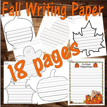 Fall Autumn  Halloween Thanksgiving : Journal Writing 8pgs LINED PAPER