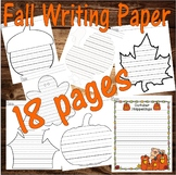 Fall Autumn  Halloween Thanksgiving : Journal Writing 8pgs LINED PAPER