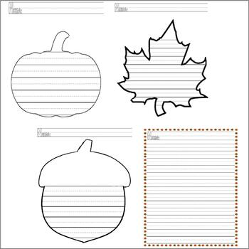Fall Autumn Halloween Thanksgiving : Journal Writing 18 pages of LINED PAPER