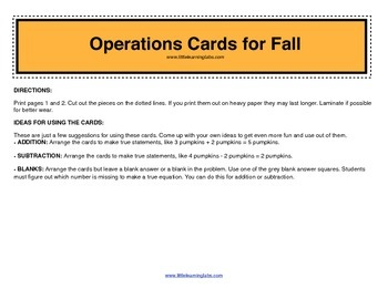 Fall Halloween Theme operations cards prek primary math addition subtraction