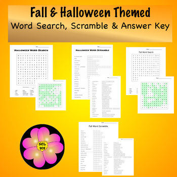 Fall & Halloween Word Search, Word Scramble and Answer Key!